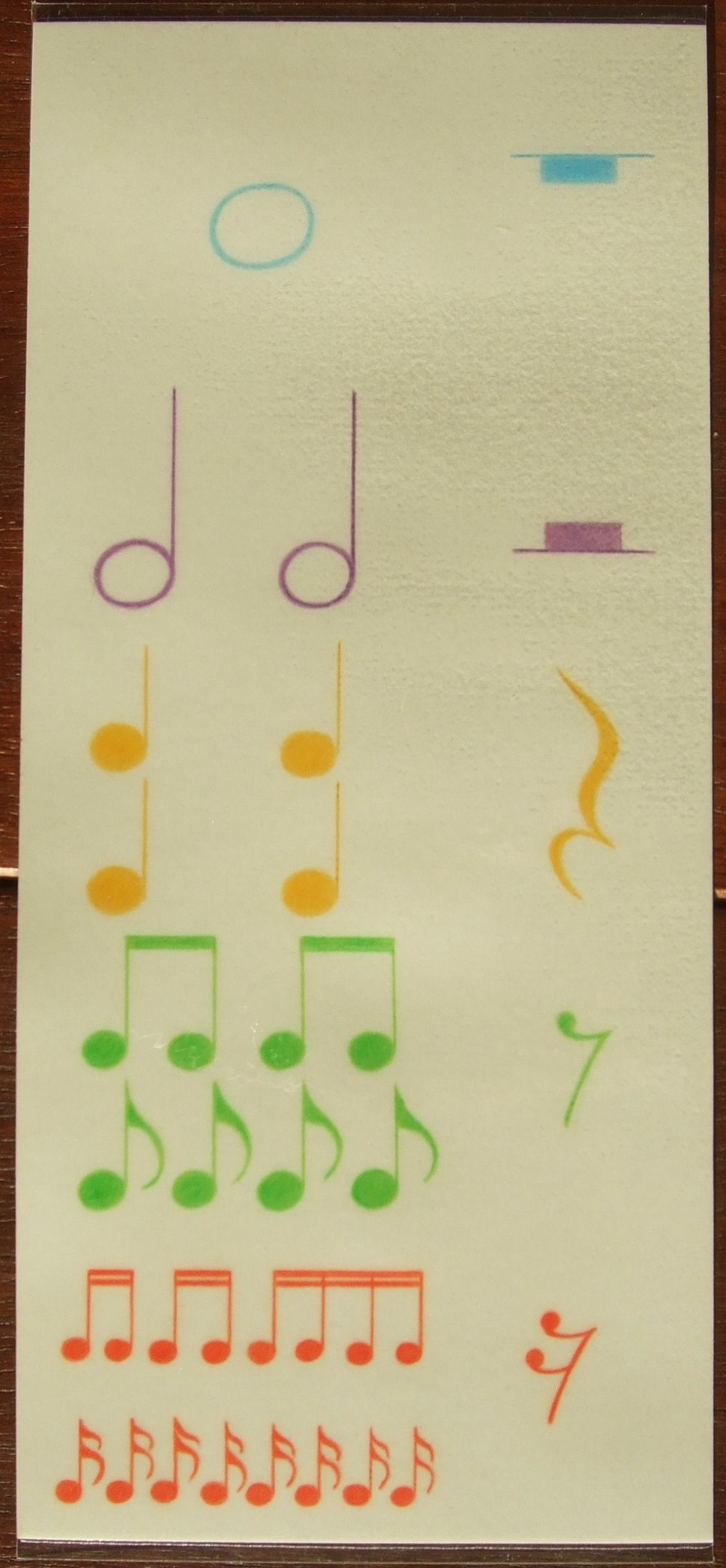 photo, teaching materials, whole, half, quarter and eighth notes and rests