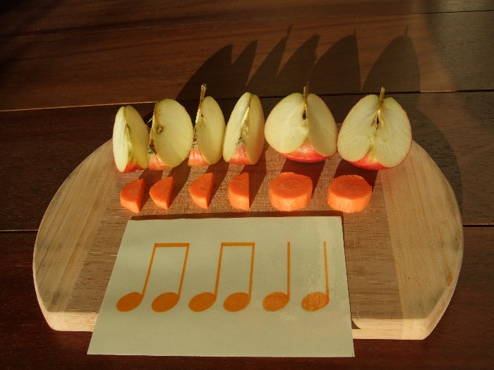 photo teaching materials, four eighth and two quarter notes with apples and carrots