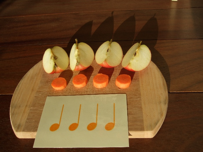photo teaching materials, four quarter notes with apples and carrots